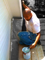 Livermore painter adds periwinkle paint to primer